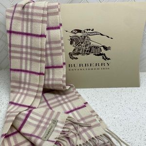 Burberry 100 % Cashmere Classic Check Scarf Pink